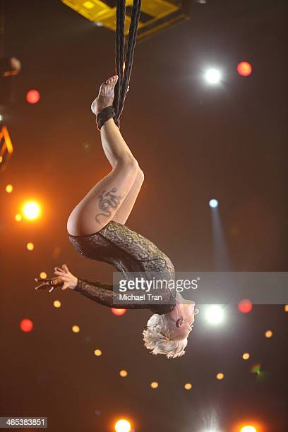 Pink performs onstage during the 56th GRAMMY Awards held at Staples Center on January 26 2014 in Los Angeles California
