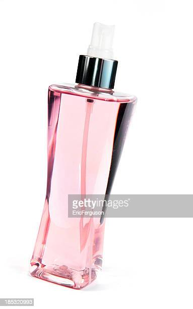 Pink Perfume Bottle on White