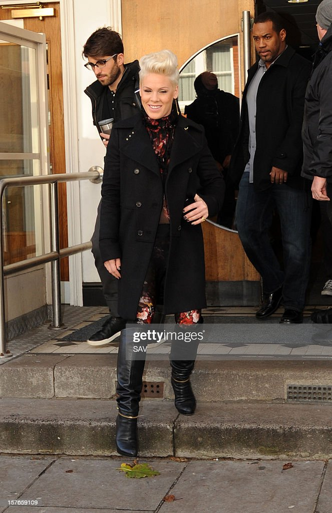 Pink pictured at the Maida Vale studios on December 5, 2012 in London, England.