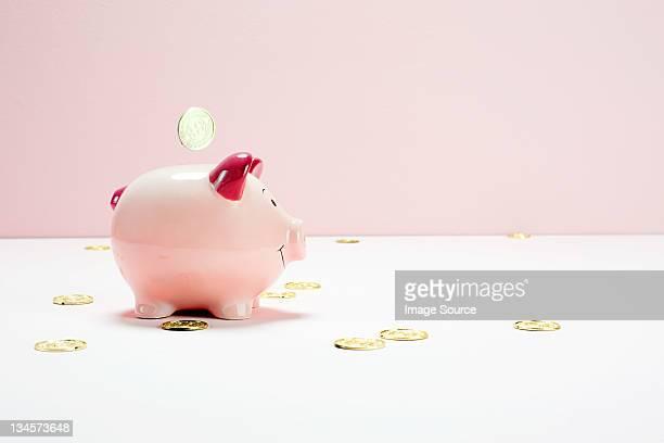 Rosa Sparschwein mit fallenden Münzen, Studioaufnahme