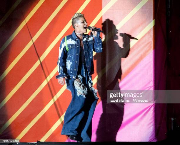 Pink plays at the Supervene Stage during the V Festival at Hylands Park in Chelmsford Essex Picture date Saturday August 19 2017
