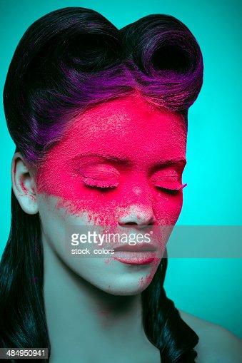 Polvo rosa maquillaje