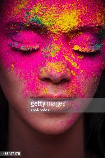 Polvo rosa maquillaje Retrato de mujer