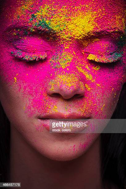 pink powder makeup woman portrait