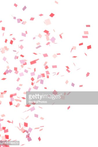 Pink, Purple and Red Confetti Falling, Isolated on White