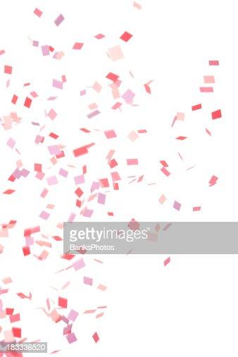 Rosa, roxo, vermelho Confete cair, isolado a branco