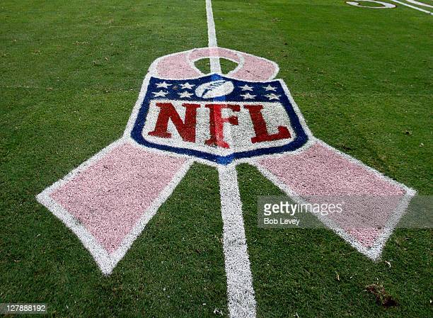 A pink ribbon with the NFL logo on behalf of Breast Cancer Awareness month adorns the field at Reliant Stadium on October 2 2011 in Houston Texas