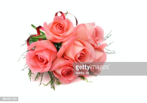 Pink rose bouquet and red ribbon : Stock Photo