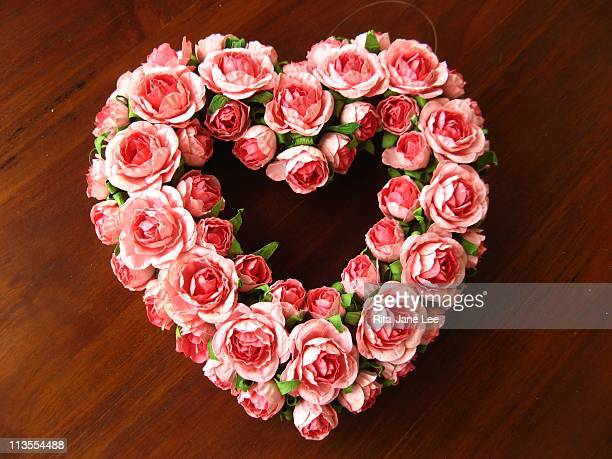 Pink rose heart wreath