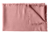 Pink rose pale folded wool shawl blanket isolated on white