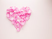 Pink rose petals forming heart-shape
