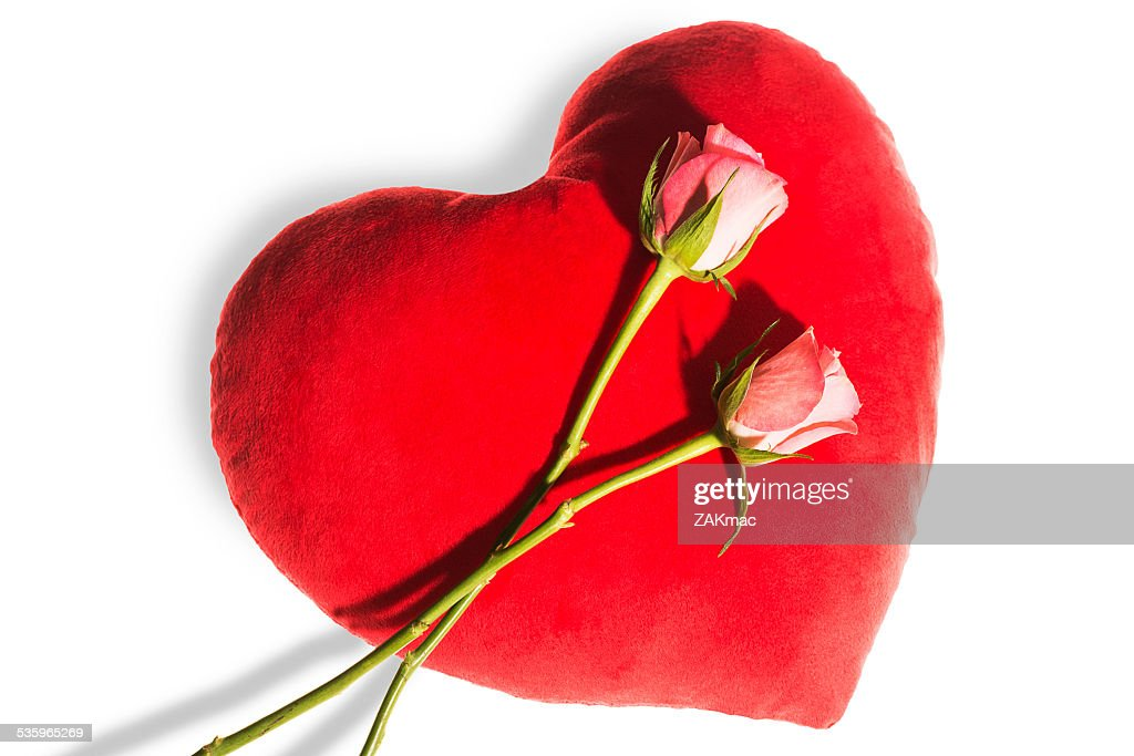 Pink roses on a heart shaped cushion : Stock Photo