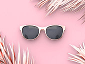 Pink scene abstract sunglasses summer concept 3d rendering