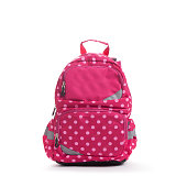 Pink school backpack with white dots isolated on white.
