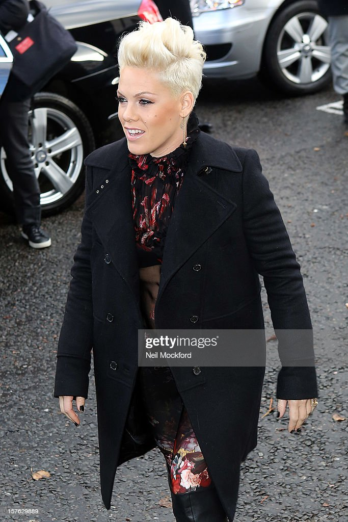 Pink seen arriving at BBC Maida Vale Studios on December 5, 2012 in London, England.