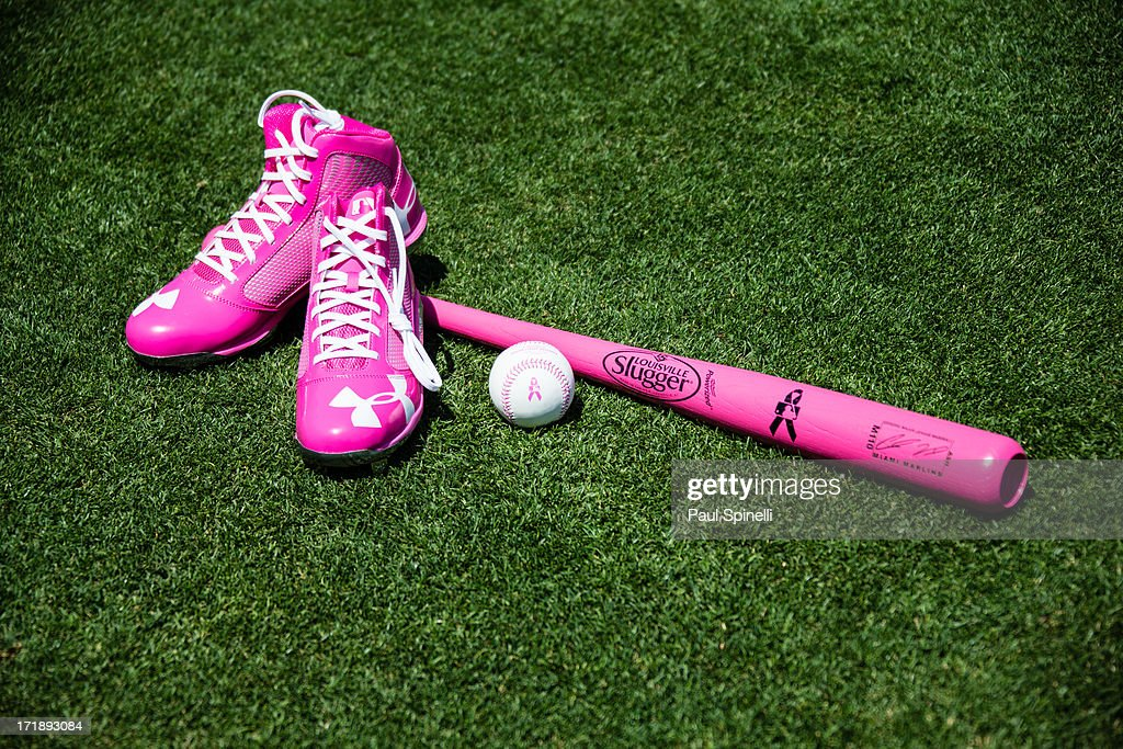 Pink shoes, a baseball with pink seams, and a pink bat are seen before being used in the Los Angeles Dodgers game in honor of Mother's Day during the game against the Miami Marlins on Sunday, May 12, 2013 at Dodger Stadium in Los Angeles, California. The Dodgers won the game 5-3.