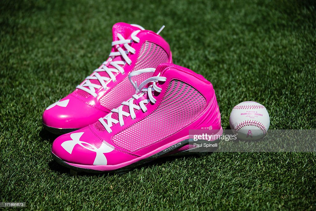 Pink shoes and a baseball with pink seams are seen before being used in the Los Angeles Dodgers game in honor of Mother's Day during the game against the Miami Marlins on Sunday, May 12, 2013 at Dodger Stadium in Los Angeles, California. The Dodgers won the game 5-3.
