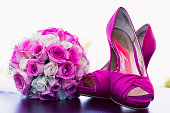 Pink shoes and bouquet