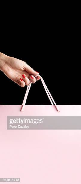 pink shopping bag with copy space