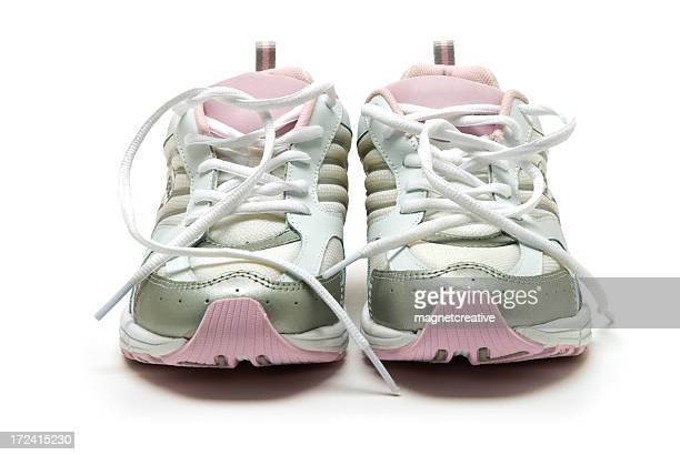 Pink, silver and white women's running shoes