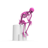 Pink skeleton sitting pose