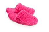 Pink  slippers on a white background