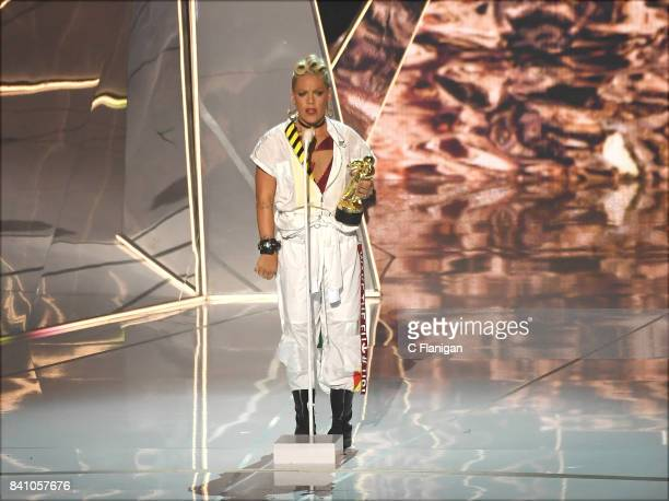 Pink speaks onstage during the 2017 MTV Video Music Awards at The Forum on August 27 2017 in Inglewood California