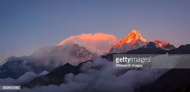 Pink sunset on Annapurna South, Nepal Himalayas
