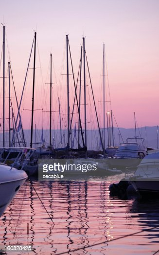 Pink sunset over harbour