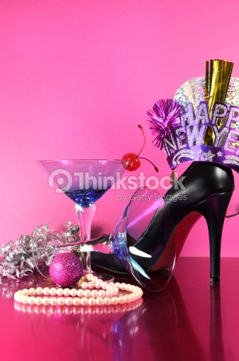 pink theme happy new year party end of night stock photo