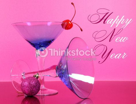 pink theme happy new years eve party stock photo