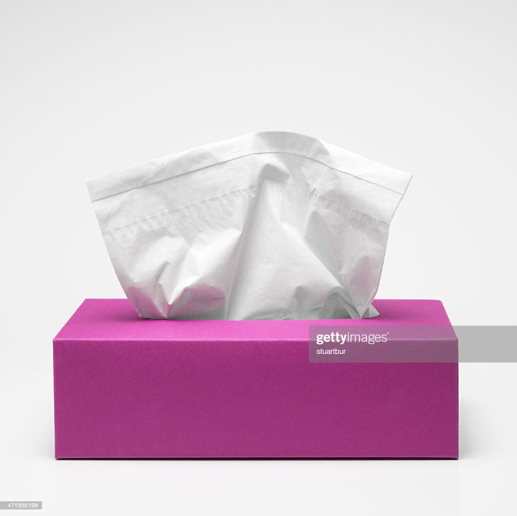 Pink tissue box with white tissues