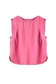 Pink silk sleeveless crop top on white background