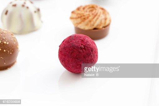 Pink truffles : Stock Photo