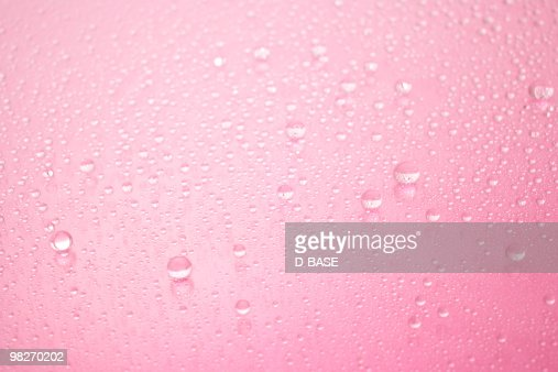 Pink water droplets