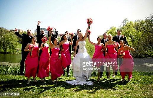 Pink Wedding Party Happy Jumping