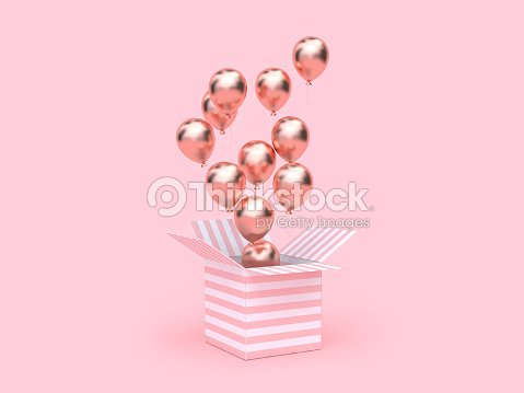 pink white gift box open gold metallic balloon group floating 3d rendering : Stock Photo