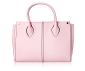 Pink women bag isolated onn white.Leather handbag.