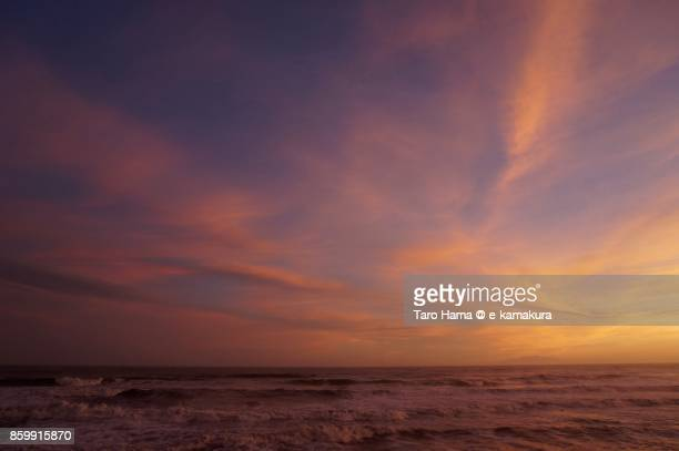 Pink-colored sunset clouds on Sagami Bay in Japan