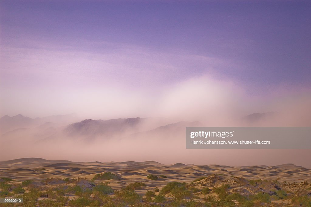 Pinkish sand storm in Death Valley