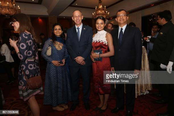 Pinky Dalmia Sam Schreiner Duangduean Vacher and Rajat Dalmia during the Luxembourg National Day celebration at Taj Mahal Hotel on June 23 2017 in...