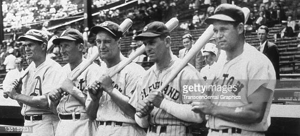 Pinky Higgins Goose Goslin Lou Gehrig Earl Averill and Jimmy Foxx pose as five American League AllStars before the AllStar game at Braves Field in...