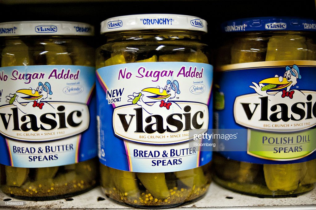 Pinnacle Foods Vlasic brand pickles sit on display for sale at a supermarket in Princeton, Illinois, U.S., on Tuesday, March 26, 2013. Pinnacle Foods Inc., the maker of Birds Eye frozen vegetables and Hungry-Man dinners owned by Blackstone Group LP, plans to raise as much as $580 million in an initial public offering that would value the company at about 2.1 billion. Photographer: Daniel Acker/Bloomberg via Getty Images