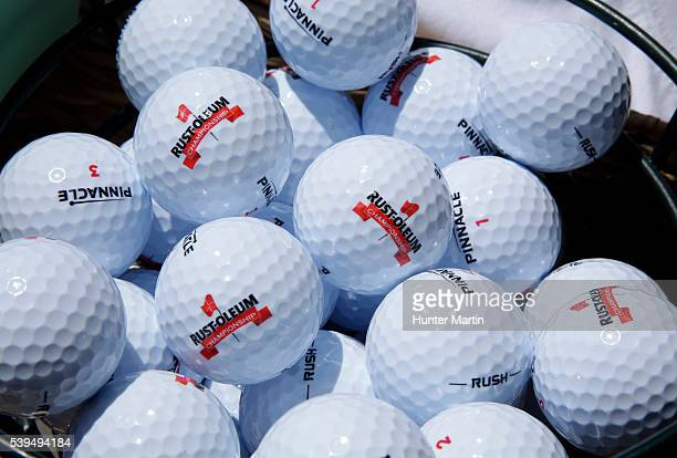 Pinnacle golf balls are seen in a bucket during the third round of the Webcom Tour RustOleum Championship at the Ivanhoe Club on June 11 2016 in...