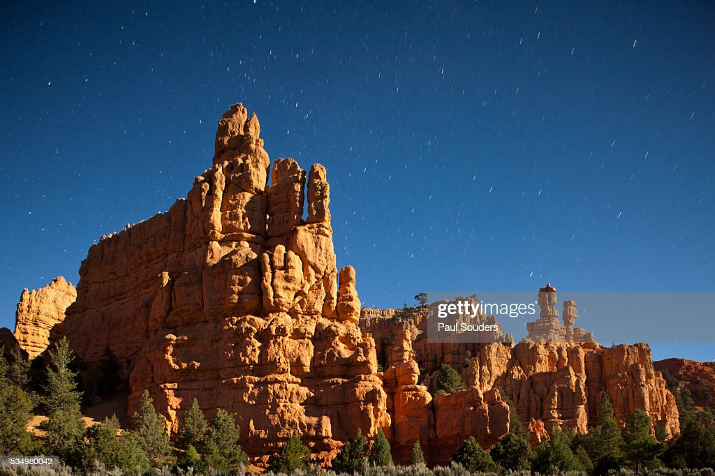Pinnacles in moonlight at Dixie National Forest, Utah