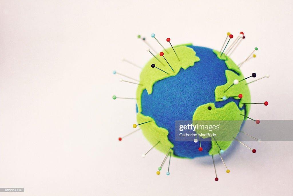 Pinning globe : Stock Photo