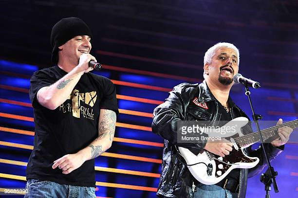 Pino Daniele and J Ax perform at the Arena of Verona during the Wind Music Awards on June 7 2009 in Verona Italy