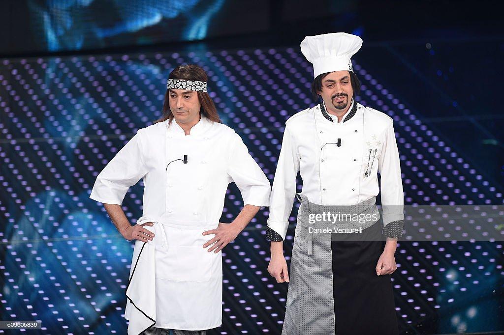 Pino e gli anticorpi attend the third night of the 66th Festival di Sanremo 2016 at Teatro Ariston on February 11, 2016 in Sanremo, Italy.