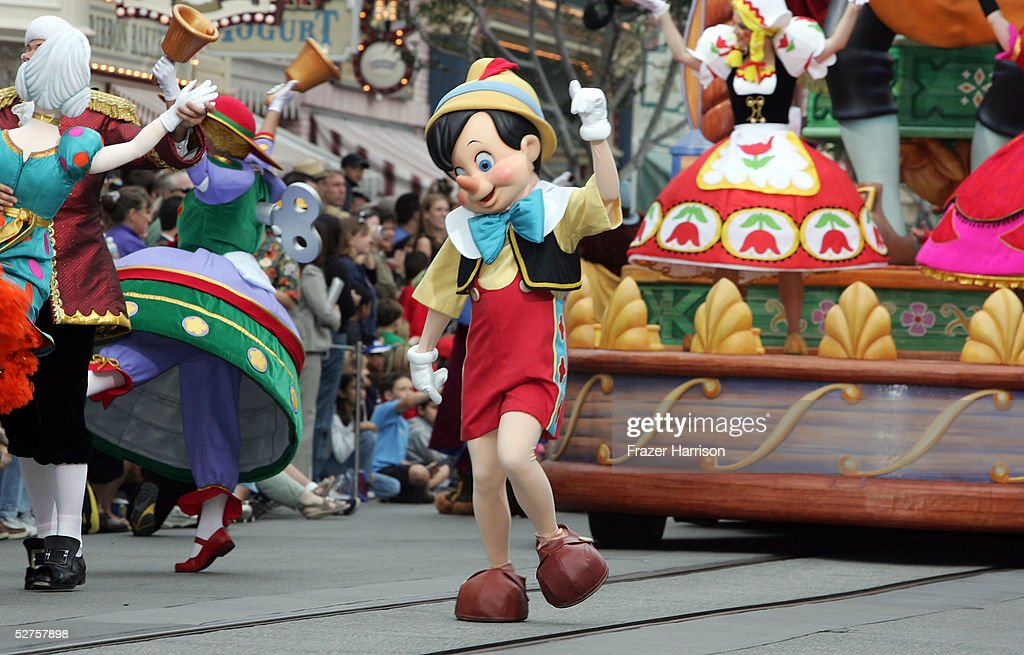 Pinocchio takes part in the 'Walt Disney's Parade of Dreams' during the Disneyland 50th Anniversary Celebration at Disneyland Park on May 4 2005 in...