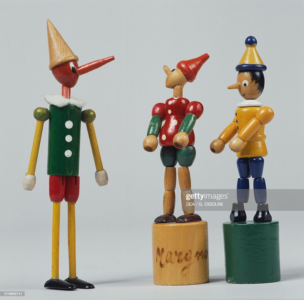 Pinocchio wooden puppets miniature toys shop 20th century